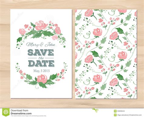 invitation illustrator template vector wedding invitation with watercolor flowers stock