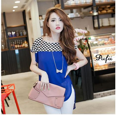 Blouse Wanita Tb050m4 Biru Kotak Import Korea Or atasan wanita korea model kotak kotak simpel model