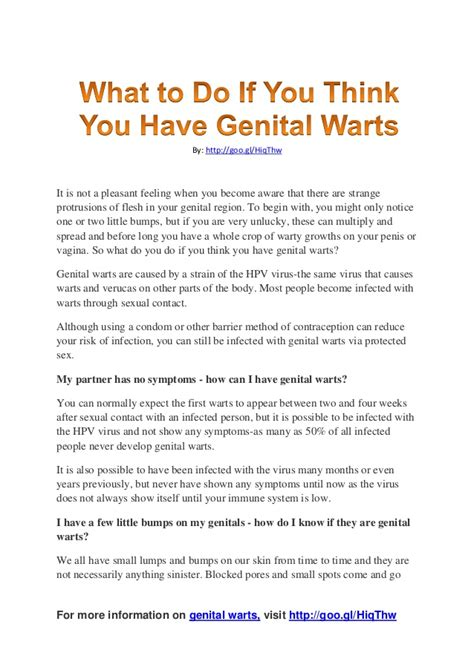 what to do if you think you have genital warts