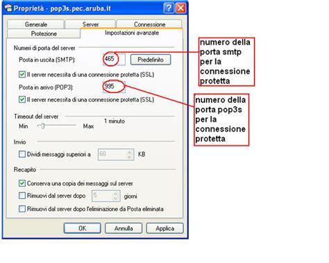 smtp aruba porta recapitosicuro it posta elettronica certificata