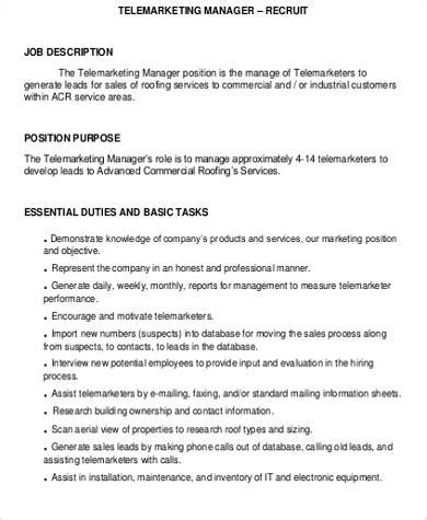 Telemarketing Sle Resume by Telemarketer Resume Description 28 Images Telemarketer Resume Duties Sle Resume Sales