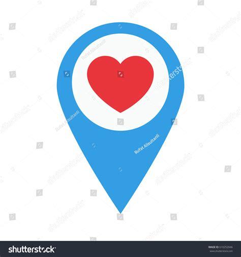 flat design icon heart heart symbol location design flat icon stock vector