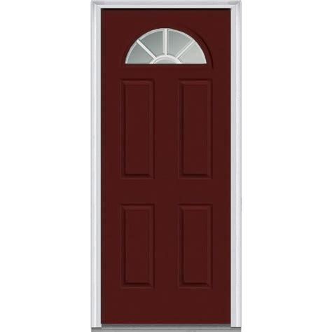 30 X 80 Exterior Door With Window Mmi Door 30 In X 80 In Grilles Between Glass Left Fan Lite 4 Panel Classic Painted Steel