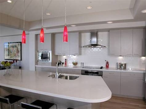 splendid pendant lighting over kitchen island with red