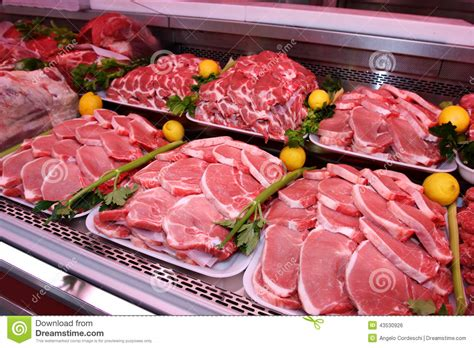 Shelf Of Pork department stock photo image 43530926