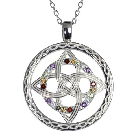 necklace sterling silver celtic knot rainbow