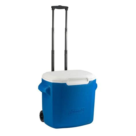coleman 28 qt wheeled blue cooler 3000003661 the home depot