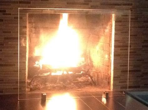 modern fireplace screen tempered glass stainless new