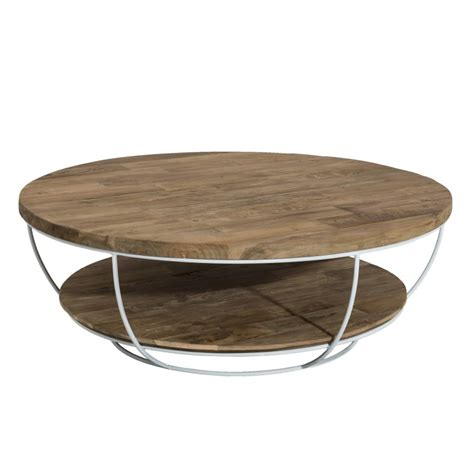 Table Basse Ronde Blanche 3272 by Table Basse Ronde Bois Et M 233 Tal Blanc 100cm Tinesixe