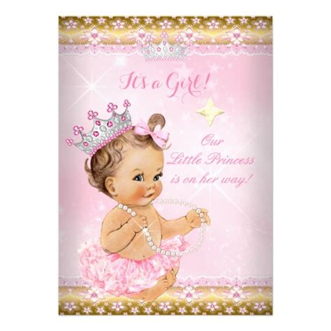 baby shower de princess princess baby shower pink tutu gold tiara card