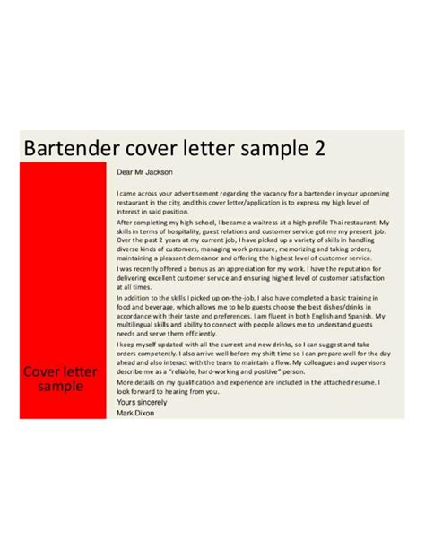 Email Cover Letter Bartender Sle Application Letter Bartender