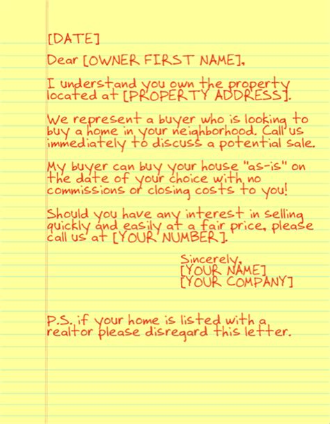 letter to buy a house not on the market sending yellow letters as a realtor