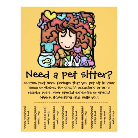 tear business card template pet sitter promotional tear sheet flyer zazzle