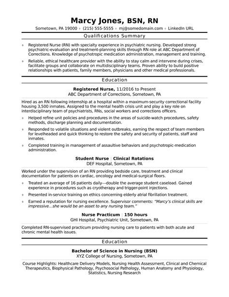 Resume Format For Entry Level Nurses Registered Rn Resume Sle