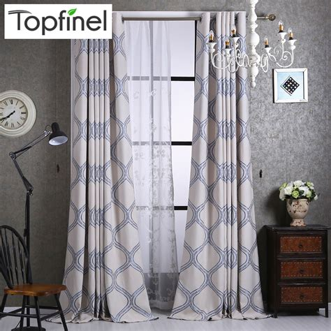 fashion window curtains top finel luxury geometric linen curtains for living room