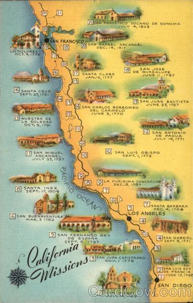 mission california map map of california missions other california cities