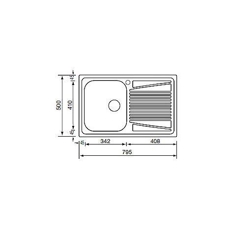 lavello acciaio antigraffio cm cometa lavello 79x50 cm 1 vasca a sinistra antigraffio