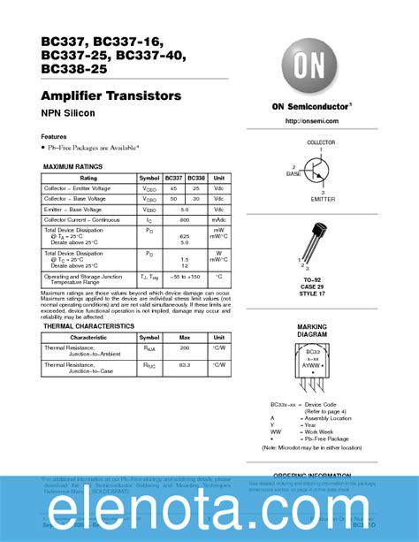 transistor bc 33740 bc337 40 datasheet pdf 65 kb on semiconductor pobierz z elenota pl