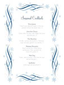 swirly cocktail menu christmas menus