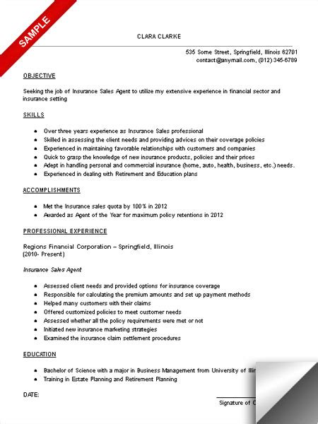Insurance Resume Exles Sles Insurance Sales Resume Sle