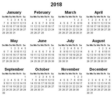printable calendar year at a glance free printable yearly calendar 2018 dotorial com