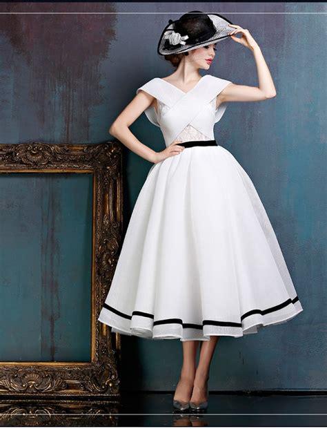 Dress W5796uzi D Black White black and white midi vintage gown