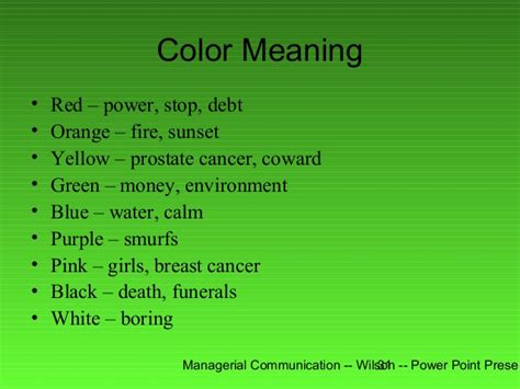 dark green color meaning 200 w power point presentation