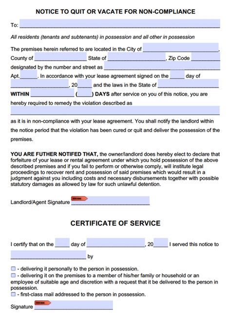 free eviction notice to comply or quit template