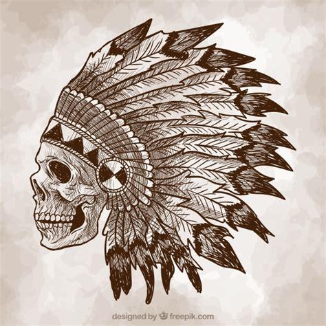 sketch free indian skull sketch background vector free