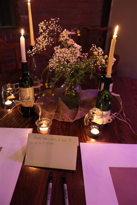 Table Centerpiece Ideas Baby S Breath Wildflowers Burlap Candles In Wine