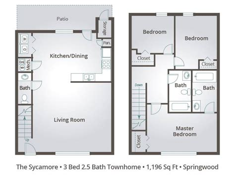 3 bedroom apartments tallahassee apartment floor plans pricing springwood townhomes in