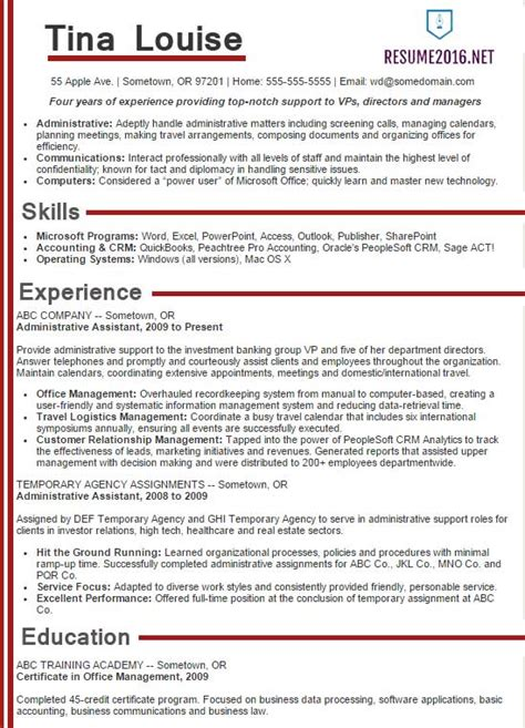 exle of administrative assistant resume administrative assistant resume sles 2016 choose it