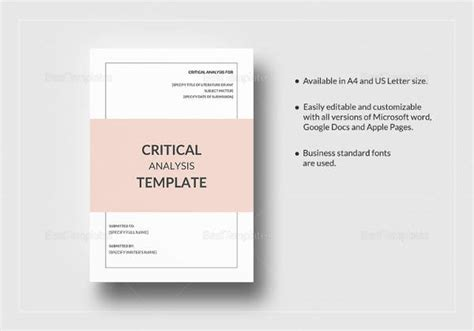 critical analysis template sle critical analysis template 9 free documents in pdf