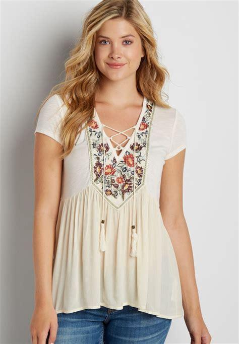 Blouse Import Murah A31138 White matilda boho peasant blouse collar blouses