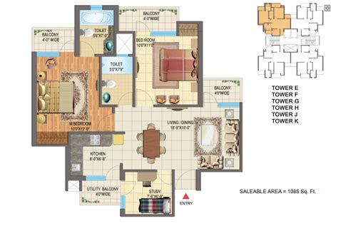study room floor plan golden palm floor plan 2bhk study room 1085 sqr ft