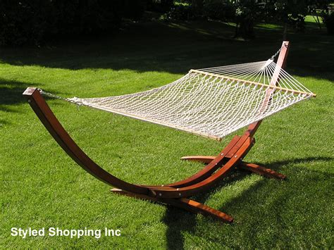 Single Seat Hammock Stand Deluxe Wood Arc Two Person Wood Hammock Stand Set Ebay