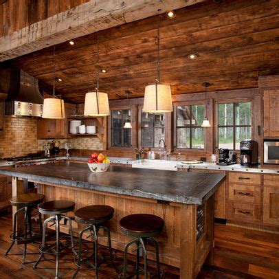 2018 kitchen rustic log cabin kitchens white and black