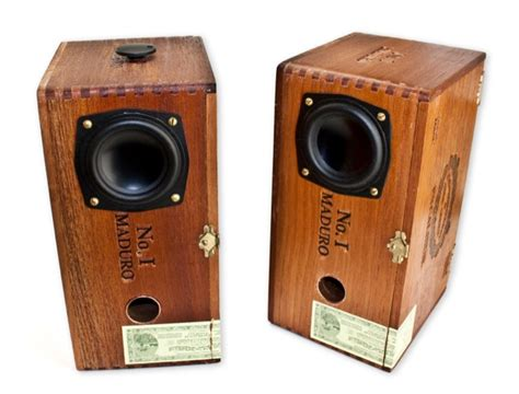 Handmade Audio - gorgeous wooden speakers fashioned from cigar boxes wired