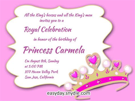 princess themed birthday invitation templates princess birthday invitation wording sles and ideas easyday