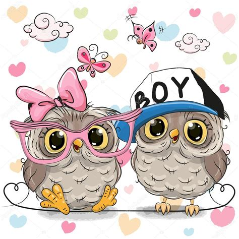 imagenes kawaii de buhos two cute owls stock vector 169 reginast777 126531174