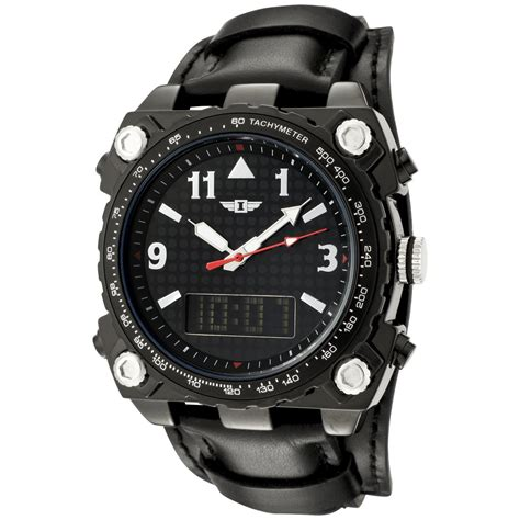invicta black leather analog digital clickbd