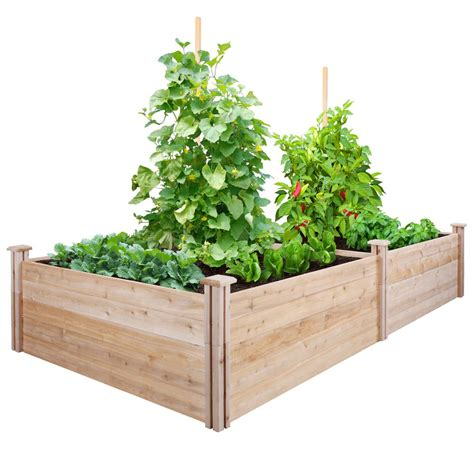 greenes fence raised garden bed greenes fence 4 ft x 8 ft x 17 5 in cedar raised garden
