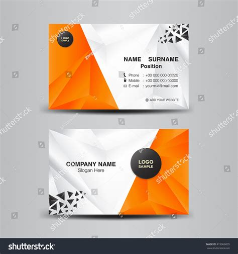 business card templates in vector business card template vector illustration orange stock