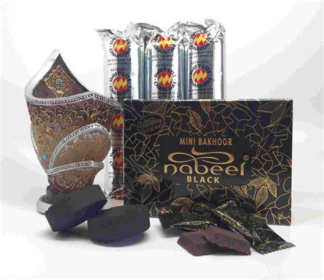 Nabeel Black Bakhoor mini bakhoor nabeel black etisalbi incense gift set by nabeel