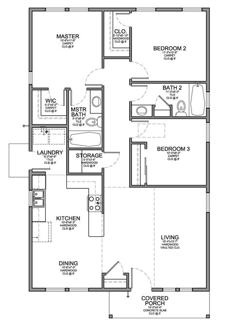 House Plans With 3 Bedrooms 2 Baths by Floor Plan For A Small House 1 150 Sf With 3 Bedrooms And