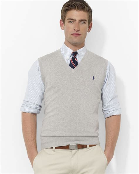 Sweater Vest Pink Pony Polo Pima Cotton Sweater Vest In Gray For Lyst