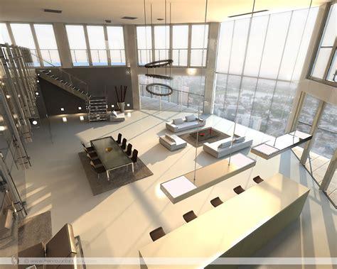 Open plan penthouse design layout   Interior Design Ideas.