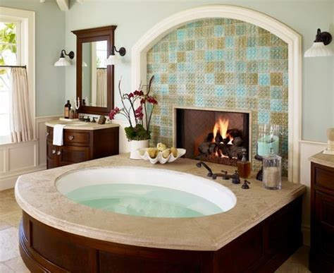 nice bathtubs tiled fireplace next to a nice big spa bath tubapplepins com