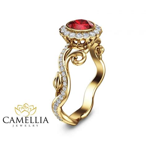 ruby leaf engagement ring 14k yellow gold ruby