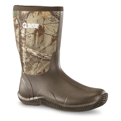 guide gear s mid camo waterproof rubber boots